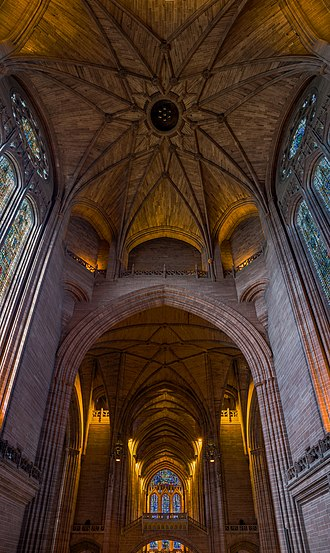Liverpool Cathedral - The interior of the cathedral, looking up into the vault below the central belltower.