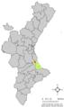 Localització de Benifairó de la Valldigna respecte del País Valencià.png