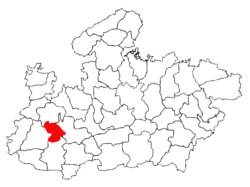 Location of Indore district in Madhya Pradesh