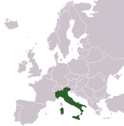 Italy wikibooks open books for an open world map showing the location of italy in europe gumiabroncs Images