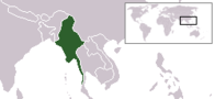 A map showing the location of Myanmar