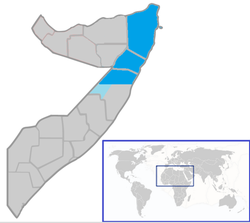 Location of  Puntland  (blue and dark blue)in Somalia  (blue & grey)Disputed territory (light blue)