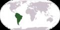 Localização da América do Sul no mapa-múndi.