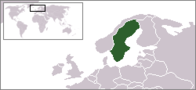 A map showing the location of Sweden
