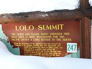 Lolo Pass (Idaho–Montana) - Historical marker sign in Idaho in 2011