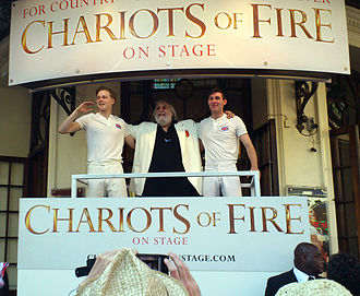 Jack Lowden - Lowden, Vangelis, and co-star James McArdle (r) at the Gielgud Theatre for the stage adaptation of Chariots of Fire (2012)