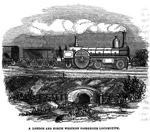 Long Boiler locomotive - Circa 1852. A LNWR passenger locomotive typical of the long boiler design.