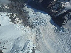 Franz Josef Glacier - An aerial view down the glacier.