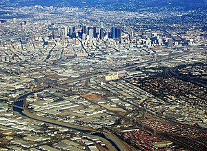 Wholesale District, Los Angeles - The Wholesale District lies across the middle of this 2009 photograph, above the Los Angeles River and below Downtown Los Angeles.