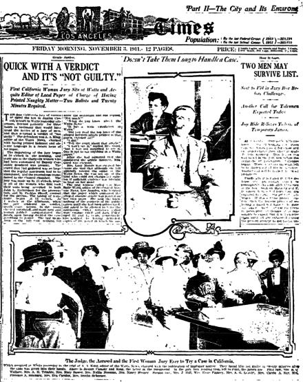 Defendant A.A. King and all-woman jury, with story as printed in the Los Angeles Times Los Angeles Times page showing story and photos of first woman jury in Los Angeles County, November 1911.png