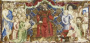 Louis I of Naples - Detail of an Arthurian-themed manuscript made for Louis, showing him enthroned