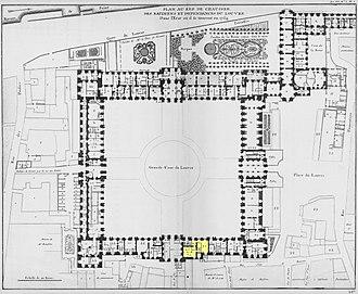 Académie royale d'architecture - Image: Louvre Plan au rez de chaussée Architecture françoise Tome 4 Livre 6 Pl 5 (Académie d'Architecture)