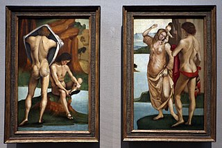 Figures in a Landscape, Two Nude Youths (left), Man, Woman and Child (right)