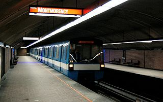 line of the metro in Montreal, Quebec, Canada