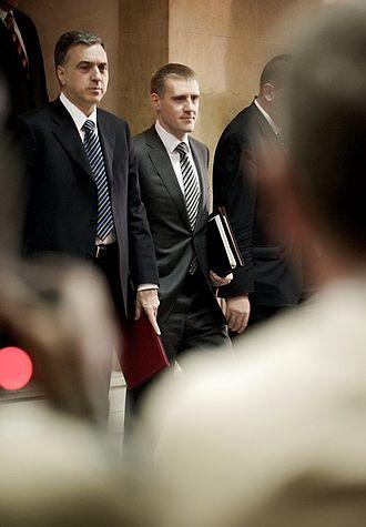 Igor Lukšić - Inauguration of Igor Luksic. To the left: Filip Vujanovic, President of Montenegro