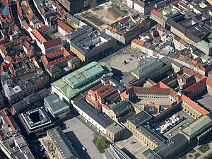 National Theatre Munich - Aerial view showing location of National Theatre in relation to the Residenz, 2007