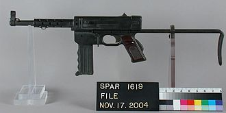 MAT-49 - MAT-49 on display. This weapon has the front grip lowered in firing position, but lacks a magazine.
