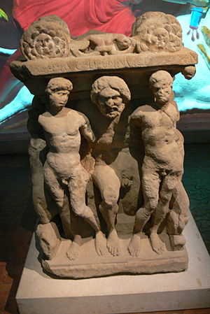 Caelus - Mithraic altar (3rd-century AD) showing Caelus flanked by allegories of the Seasons (Museum Carnuntinum, Lower Austria)