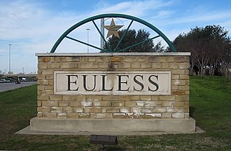 Euless, Texas - Image: MVI 2745 Euless, TX, welcome sign