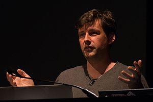 "Maciej Cegłowski - Cegłowski speaking at the ""dConstruct"" conference in 2013"