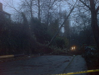 Hanukkah Eve windstorm of 2006 - Landslide in the Madison Valley neighborhood of Seattle.