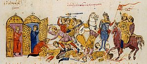 Thomas the Slav - Capture of a city in Asia Minor by Thomas's troops. Miniature from the Madrid Skylitzes.