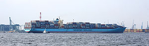 Port of Yokohama - Sovereign Maersk container ship at Minami Honmoku Pier, Yokohama