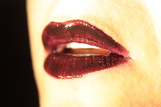 Lipstick - Lips with dark crimson lipstick