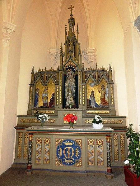 Mairieux (Nord, Fr) église, autel de la Vierge Marie