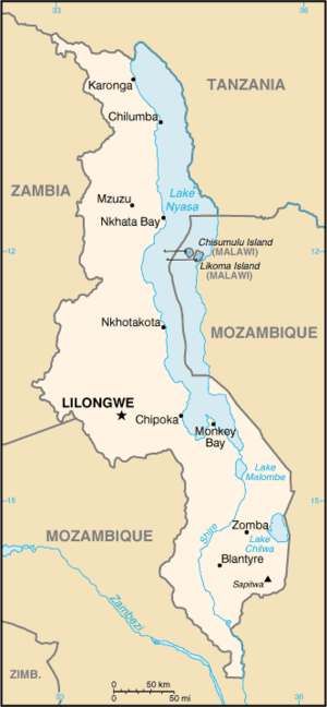 Outline of Malawi - An enlargeable basic map of Malawi