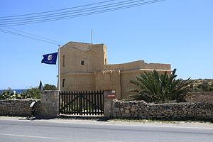 Din l-Art Ħelwa - DLĦ flag at Mamo Tower in Marsaskala