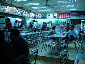 Mamak stall - Certain Mamak stalls, such as this example in Kuala Lumpur, may remain open 24 hours a day.