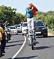 Manjit Singh Tying a Turban While Riding Bilw..jpg