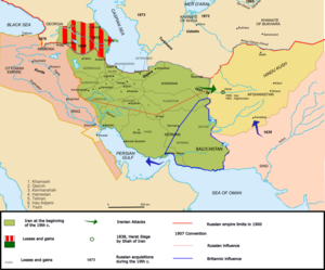 A map of Iran under the Qajar dynasty in the 1...