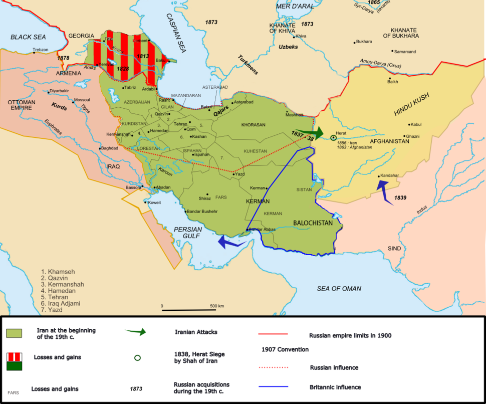 Map of Iran under the Qajar dynasty in the 19th century.