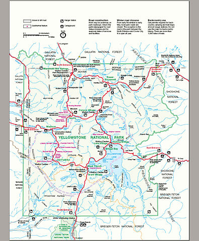 hiking map for yellowstone national park