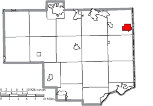 East Palestine, Ohio - Image: Map of Columbiana County Ohio Highlighting East Palestine Village