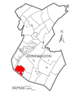 Map of Huntingdon County, Pennsylvania Highlighting Carbon Township.PNG