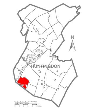 Carbon Township, Huntingdon County, Pennsylvania - Image: Map of Huntingdon County, Pennsylvania Highlighting Carbon Township