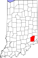 Map of Indiana highlighting Ripley County.svg