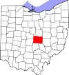 State map highlighting Licking County