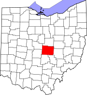 Map of Ohio highlighting Licking County