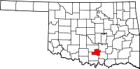 Map of Oklahoma highlighting Murray County