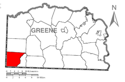 Location of Springhill Township in Greene County