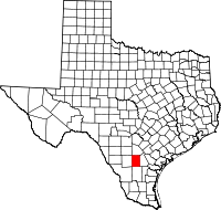 Map of Texas highlighting McMullen County