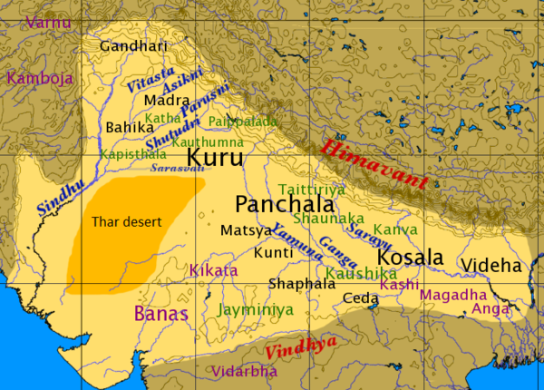 Map of North India in the late Vedic period. The location of shakhas is labeled in green; the Thar Desert is dark yellow. Map of Vedic India.png