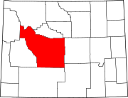 Map of Wyoming highlighting Fremont County.svg