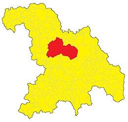 In rosso il territorio comunale circoscrittoall'interno della provincia di Alessandria