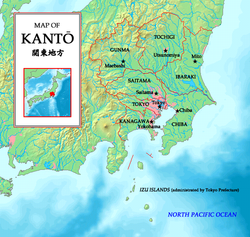 Closeup map showing the areas within the Kanto region of Japan