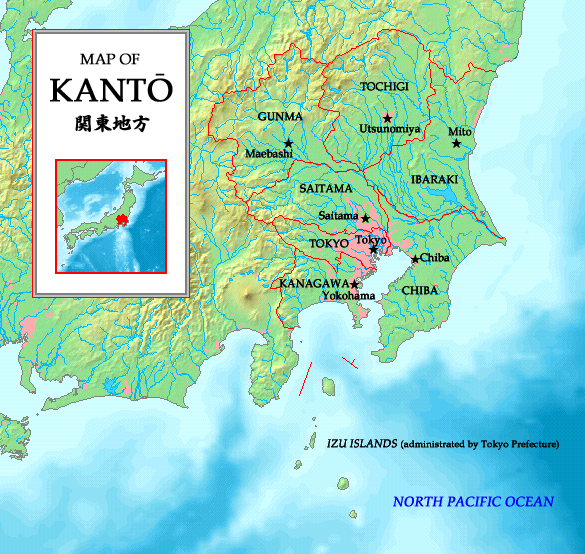 Closeup map of the areas within the Kanto region